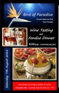 Wine Tasting and Fondue Dinner   (Bird of Paradise)